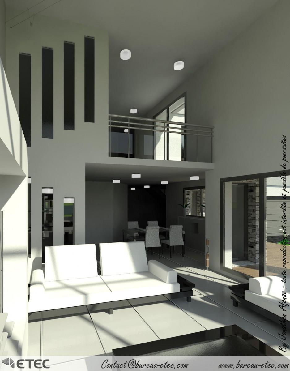 Maison toit terrasse grande fino etec - Maison avec vide sur salon ...